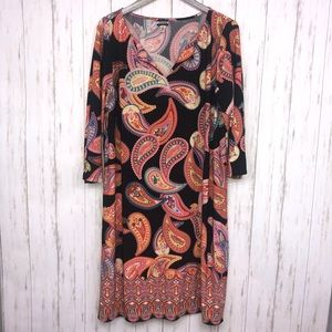 Haani woman's paisley dress 3x black multi color